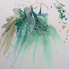 fashion illustration art print of green blue gold hue designer couture evening ball gowns by Katie Rogers Croquis de mode Paper Fashion, Arte Fashion, Fashion Design, Dress Fashion, Fashion Clothes, Fasion, Fashion Outfits, Fashion Sketches, Art Sketches