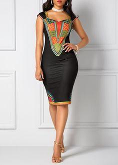 Dashiki Print Black Open Back Sheath Dress on sale only US$33.00 now, buy cheap Dashiki Print Black Open Back Sheath Dress at liligal.com