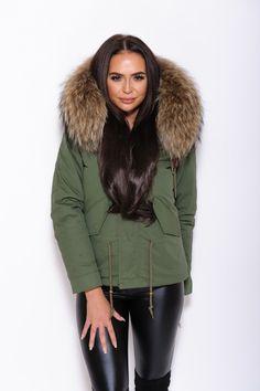 Natural Brown Fur Collar Hood Parka Army Green Jacket
