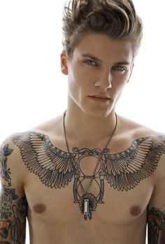 Incredible Egyptian-style chest piece. I'd love to see how it looks filled in // sisi me gusta mas el chico q el tattoo ajja