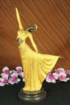 Gold Patina D H Chiparus Egyptian Art Deco Dancer Dance Bronze Sculpture Statue Figurine   eBay