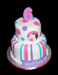 pink, purple and teal horse themed 6th birthday cake by Simply Sweets, via Flickr
