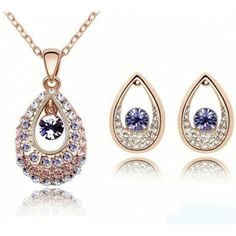 Free Shipping Crystal Necklace and Earrings Set in Purple, Red and Silver