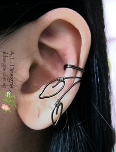 Wire Wrapped Leaves Ear Cuff