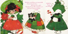Christmas Paper Doll Card - Big Brown Eyes  Gibson Play Card #40X 07463, ca 1990, artist unknown