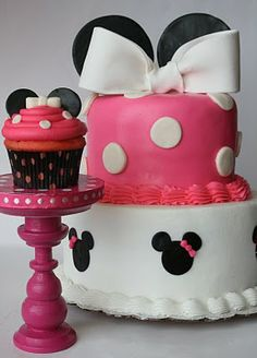 Minnie Mouse Cake and Cupcake via- And Everything Sweet
