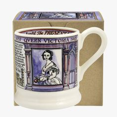 Nine children, patron of 150 institutions and endless accomplishments with a reign of nearly 64 years: weve managed to condense quite a lot into our boxed Queen Victoria 1/2 Pint Mug.