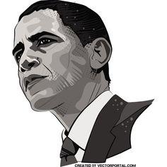 Obama Barack Portrait Free Vector