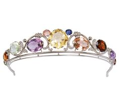 Seltenes Jugendstil-Diadem mit reichem Edelstein- und Diamant-Besatz