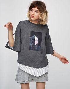Pull&Bear - damen - neu - t-shirt mit gestreiftem saum - grau meliert - 05237395-V2017