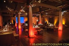 LED uplighting, pin spotting, and paisley gobo projections for an industry professional event at Front & Palmer in Philadelphia, PA. Photo by Richard Barnes Photography. Lighting by Synergetic Sound + Lighting. www.synergeticsounds.com http://www.rbarnesphotography.com