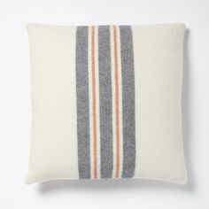 Faribault Large Stripe Wool Pillow Cover - Ivory
