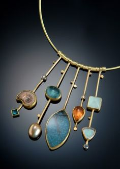 Gold Sticks necklace by Sydney Lynch.  Paraiba quartz, ammonite, pearl, other gemstones and gold.