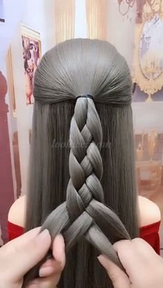 Such a creative braided hairstyle braid # Braids frisuren video Amazing 4 Strand Braid Easy Hairstyles For Long Hair, Braids For Long Hair, Pretty Hairstyles, Braided Hairstyles, Hairstyle Braid, Braids Easy, Braid Ponytail, Black Hairstyle, Amazing Hairstyles