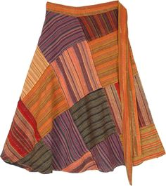 "A beautiful reminder of the sunset at Grand Canyon, this stunning boho wrap skirt makes you stand out from the crowd! The patchwork is all intricate stripes of spiced colors in beautiful contrast with a tangerine background. Pair it with boots, a crisp shirt, and a hat to make it have a glamourous touch! It is an ideal gift for someone special or a treat for yourself, make sure to not miss out on this unique style! Length: 24"" ; Waist: The wrap waist is 44"" when lying open end to end. #tlb…"