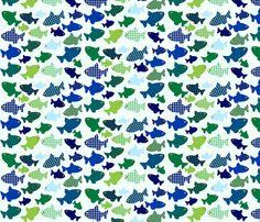 fish n fish blues-n-greens fabric by sadiejdesigns on Spoonflower - custom fabric