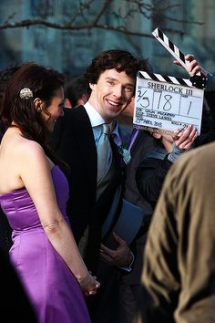 Sherlock, The Sign of Three, behind the scene <3 look at that smile!