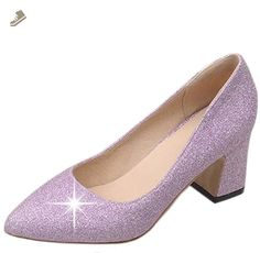 Easemax Women's Pointed Toe Slip On Mid Chunky Heel Low Top Pumps Shoes Purple 8.5 B(M) US - Easemax pumps for women (*Amazon Partner-Link)