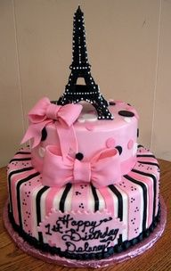 Pink Paris Cake, omgoodness auntie we should do a Paris themed party for ande when shes like 16 ! This cake would be perfect !