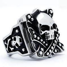Oliveti Stainless Steel Men's Vintage Skull Biker Ring (Size 10), White