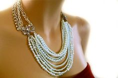 Pearl Bridal Necklace Statement Wedding by PearlJewelryNecklace, $148.00