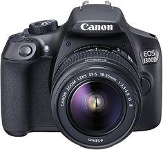 Canon EOS 1300D Digitale Spiegelreflexkamera (18 Megapixel, APS-C CMOS-Sensor, WLAN mit NFC, Full-HD) Kit inkl. EF-S 18-55mm IS 2 Objektiv schwarz - Fotoapparat kaufen Kamera Canon
