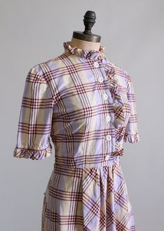 Vintage 1930s Plaid Ruffles Cotton Day Dress