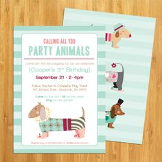 Dog Party Animal Birthday Invitation Presents Puppy Parties