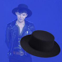 GD Style Bigbang Fashion Vintage British Men Wool Black Fashion Boater Hat