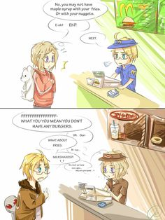 Canada and America, Hetalia Fan Art - lol. Yes, Tim Horton's is fast food. No, it's not THAT kind of fast food...