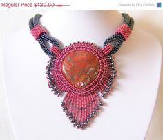 VALENTINES DAY SALE Statement Beadwork Bead Embroidery Pendant Necklace with Flame Jasper - Tango In Paris - red - grey