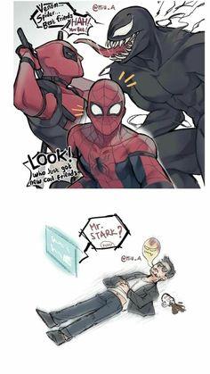Deadpool Spiderman Venom Tony Stark Iron Man stress of raising a son coug Deadpool Spiderman Venom Tony Stark Iron Man Stress der Kinde Avengers Humor, Marvel Jokes, Marvel Avengers, Marvel Comics, Hero Marvel, Marvel Venom, Funny Marvel Memes, Bd Comics, Funny Memes