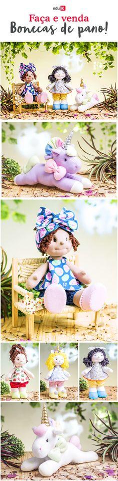 Limarrian Camargo ensinará a fazer três bonecas personalizadas: uma cacheada, uma mestiça e uma com adereços de unicórnio. Para finalizar, ela fará um maravilhoso unicórnio de tecido.