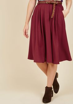Breathtaking Tiger Lilies Midi Skirt in Merlot. This morning, a bundle of bright flowers was waiting at your door. #red #modcloth