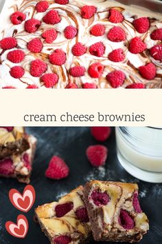 Rich and fudgy cream cheese brownies with fresh raspberries are a decadent dessert. A little raspberry jam with the cream cheese is just the thing to transform a regular brownie into a spectacular one. Cream Cheese Brownies, Chocolate Cream Cheese, Cheesecake Brownies, Bar Recipes, Fruit Recipes, Valentines Food, Valentine Recipes, Raspberry Cheesecake, Sugar Cravings