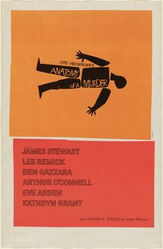 MoMA Saul Bass Poster for the film Anatomy of a Murder directed by Otto Preminger 1959 Medium Offset lithograph Dimensions 41 x x cm) Credit Gift of Otto Preminger Productions, United Artists Object number Department Architecture and Design Graphic Design Posters, Graphic Design Typography, Graphic Design Inspiration, Graphic Designers, Ad Design, Book Design, Cover Design, Cute Illustration, Graphic Design Illustration