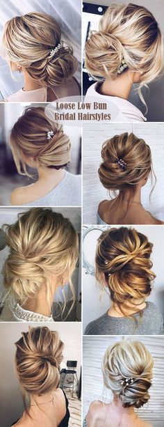simple loose low bun style wedding hairsytle collection