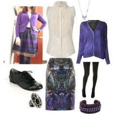 """""""Galactic in Purple"""" by yesandnazzy on Polyvore - #ootd #whatIwore http://yesandnazzy.blogspot.com/2014/02/purple-and-peonies.html"""