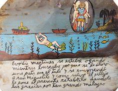 Эводио Мартинес плавал под водой, и его нога запуталась в осоке. Он стал тонуть. Тогда он вверился Святому Михаилу. За то, что ему удалось спасти свою шкуру, Эводио посвящает ретабло, благодаря за такое великое чудо.