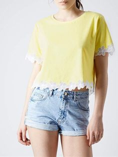 Yellow T-shirt With Lace Hem | Choies