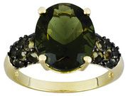 4.11ctw Oval And Round Moldavite 10k Yellow Gold Ring                                                                      $249.99