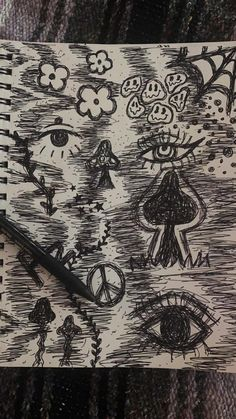 Amazing Drawings, Cool Art Drawings, Drawing Ideas, Poster Drawing, Painting & Drawing, Art Journal Inspiration, Art Inspo, Psychedelic Drawings, Graffiti Drawing