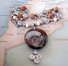 Moroccan Ammonite Fossil Pendant on Vintage Turkish Twirl