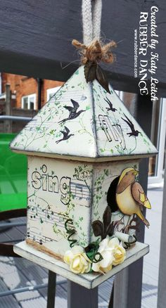 Rubber Dance Art Stamps: Stamped Birdhouse by Katy Leitch