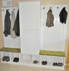 DIY mudroom - using premade cubbies and cabinet