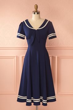 Evana Ocean Navy Retro A-line Sailor Dress Navy Dress Outfits, Sailor Outfits, Sailor Dress, Unique Dresses, Vintage Dresses, Vintage Outfits, Vintage Fashion, Rajputi Dress, Nautical Dress
