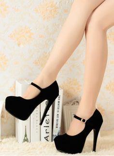 Suede Buckle Design High Heels Shoes in 3 Colors