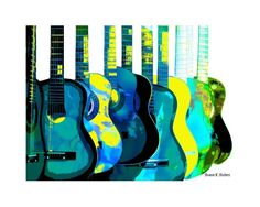 "Guitar POP Art - Music Instrument Art - Giclee Print - 8 x 10-inch - FREE SHIPPING. Blue, turquoise, green and yellow guitars pop art. A digital music instrument artwork in an abstract realism style. It's entitled, ""Acoustic Sounds"" and is one of many guitar artworks I have in my shop. Inspired by growing up singing solos, in duos, trios, quartets, bands, choirs and groups. Print type: Giclee Paper size: 8.5 x 11-inches Image size: 8 x 10-inches Paper type: HP Premium Soft Gloss LARGER..."