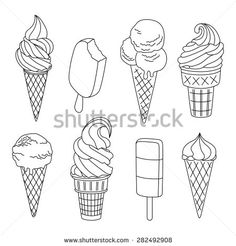 Find Ice Cream Set Vector Illustration stock images in HD and millions of other royalty-free stock photos, illustrations and vectors in the Shutterstock collection. Pencil Art Drawings, Kawaii Drawings, Doodle Drawings, Cute Drawings, Doodle Art, Ice Cream Cone Drawing, Ice Cream Painting, Draw Ice Cream, Ice Cream Illustration