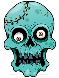 Buy Zombie by SARAROOM on GraphicRiver. Vector illustration of Cartoon Zombie face Cartoon Faces, Cartoon Drawings, Easy Drawings, Cartoon Art, Cartoon Monsters, Halloween Rocks, Halloween Art, Halloween Drawings, Graffiti Art